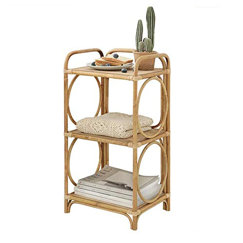 Jcnfa-Tables Three-Layer Rattan Rack, Living Room Floor Magazine Rack, Sofa Locker/Side Table, Bathroom Shelf (Color : Rattan, Size : 13.7711.0226.77in)