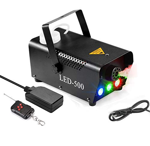 Fog Machine, 500W Portable Led Smoke Machine with Lights (Red, Blue, Green) & Wireless Remote Control for Halloween…