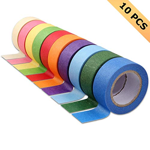 10Pcs Colored Masking Tape Rolls, 10 Colors Rainbow Label Tape, Art Supplies for Kids and Adults, Colored Painters Tapes for Arts, Labeling, Decorations, 1Inch x 13 Yards