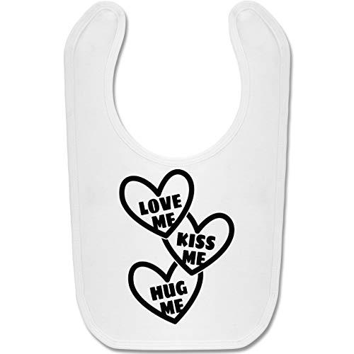 Valentinstag Baby - Love me, Kiss me, Hug me mit Herzen - schwarz - Unisize - Weiß - Fun - BZ12 -...