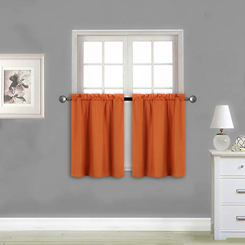 """Better Home Style 100% Blackout 2 Panels Tiers Window Treatment CurtainInsulated Drapes Short Panels for Kitchen Bathroom or Any Small Window M3024 (Orange, 2 Panels 28"""" W X 24"""" L Each)"""