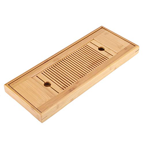 Bamboo Tea Tray Portable Tasteful Chinese Gongfu Tea Table Tasteful Serving Tray Plate Home Garden 38 * 15cm