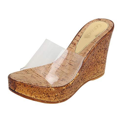 Catwalk Women's Beige Wedge Sandals Fashion 8 UK/India (40 EU)(3903F-8)