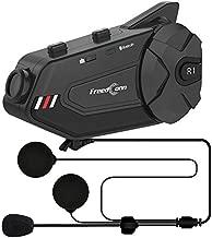 ILM Motorcycle Communication System HD Camera 6 Riders Group Intercom Moto Casco Helmet Bluetooth Headset Hard Cabel Mic Speaker for Motocross Motor Bike Skiing(Hard Cable Mic)