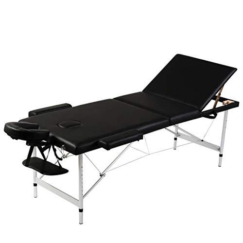 EBTOOLS Sedia per cosmetici a 3 zone, pieghevole, per massaggi, 1 poggiatesta, in ecopelle, con 3 braccioli, con telaio in alluminio, 186 x 68 cm