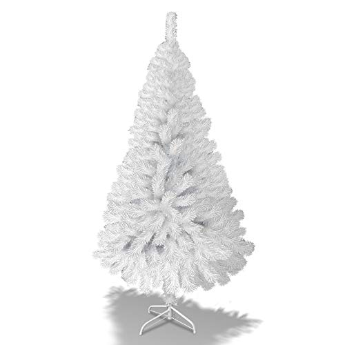 BenefitUSA Half Christmas Tree Beautifully Crafted Design Half Tree w/Steel Base (6 ft/White)