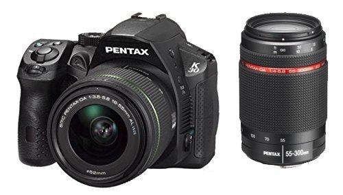 Pentax K-30Digitalkamera Reflex 16Mpix Kit + Objektiv 18–55mm + Objektiv 55–300mm schwarz
