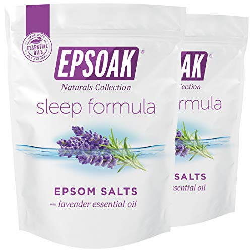 Epsoak Epsom Salt Sleep Formula 4 lbs. - Lavender Bath Salts, Sleep Well & Relax with Epsom Salt & 100% Natural Lavender Essential Oil (Qty 2 x 2 lb. Bags)