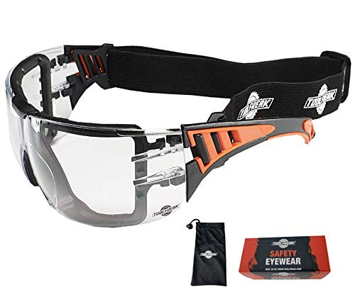 ToolFreak Rip Out Safety Glasses, Feature Clear Wraparound Polycarbonate Lenses with Foam Padding, Impact and UV Protection,ANSI Z87 Rated, Includes Carry Pouch