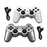 Tidoom PS3 Controller Wireless Bluetooth Compatible for Playstation 3 Controller Wireless PS3 Remote Controller with Cables White and Silver 2 Pack