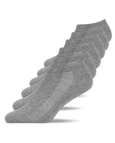 Snocks Calcetines Tobilleros Mujer Deporte (6x) Calcetines Cortos Mujer Paquete de 6 Gris Tamaño 35-38 Calcetines Mujer Algodón Deportivas