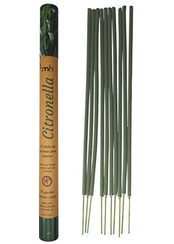 MosquitoHouse Sticks de Incienso Aceite Puro de Citronela. 10 Unidades de Color Verde y 50 cm. de Largo. para Uso Exterior en Jardines, barbacoas, terrazas y Piscinas