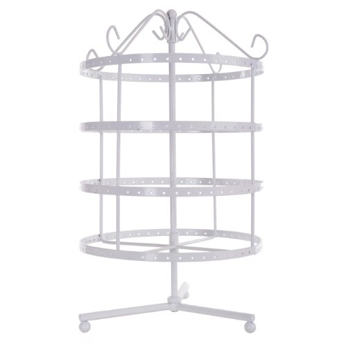 MyGift 4-Tier White Metal Metal 92-Pair Earring Organizer Rack, Dresser Top Rotating Jewelry Stand