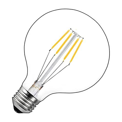 Bonlux Bombilla LED de 4 W G125 E27 con forma de globo grande regulable, estilo vintage, luz blanca fría, 6000 K, rosca Edison...