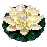 Flores artificiales para decoración, espuma flotante artificial, flor de loto, almohadillas realistas de lirios de agua para estanque, acuario, piscina, pecera, hogar, jardín, decoración de boda