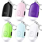 6 Pieces Personal Security Alarm Keychain 130dB Safe Sound Alarm Keychain Emergency Safety Keychain with USB Rechargeable LED Flashlight for Kids Women Girls Elderly Men