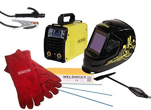 Aktionsset WELDINGER EW 201 dig pro digitaler Elektrodenschweißinverter Lift-WIG (Helm AH 300 + Elektroden + Hammer + Handschuhe)