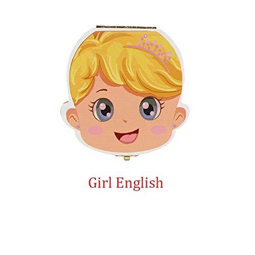Weier. Ben Tooth Box Storage Text Baby Jongen Meisje Houten Koffer Melk Tanden Organizer-Meisje Engels