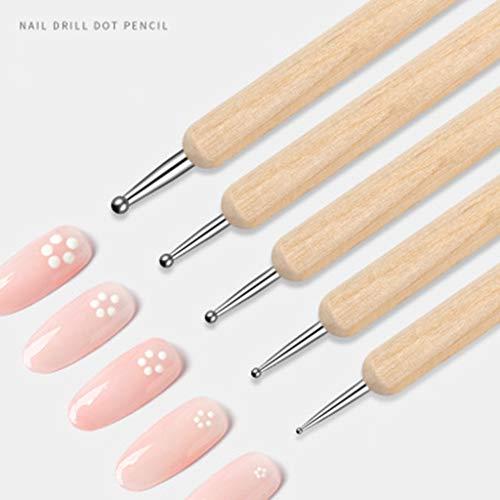 HoneyGod Nail Art Supplies with 15Pcs Brushes Set with 5Pcs Dotting Pens - 3D 2 Way Glitter Nail Diamonds Rhinestones Kit Dotting Pen Tool Dot Paint Manicure Kit Nail Art Tip Photo #8
