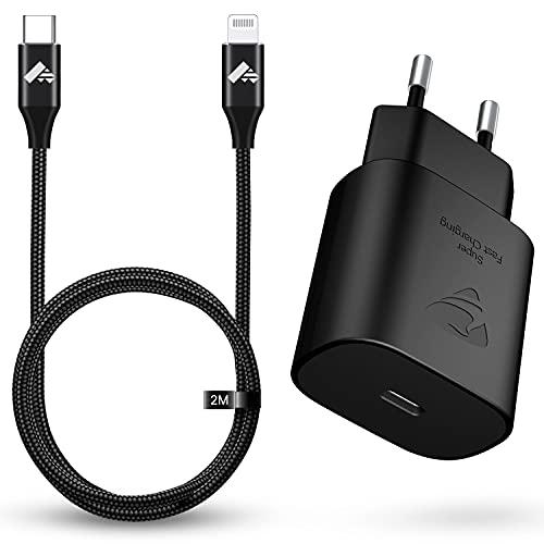 Aioneus USB C Ladegerät, 25w iPhone Ladegerät PD 3.0 Schnellladegerät,USB C Power Adapter Ladestecker mit 2m Lightning Kabel USB C Netzteil für iPhone 12 11 Pro Max Mini X XS XR 8 7 6s SE,Pad Pro usw