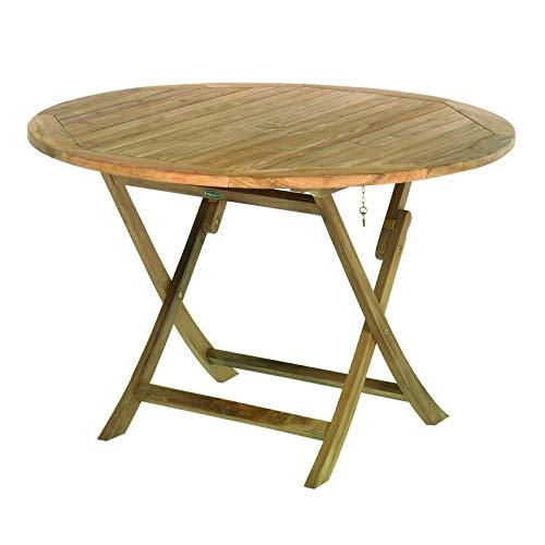 ROG garden-line TL8109 Teak Tisch Cambridge, RUND, KLAPPBAR, 120 cm Durchmesser