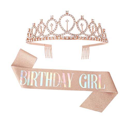 Gitua 2 Stück Geburtstag Schärpe & Geburtstag Krone, Rose Gold Strass Krone Birthday Girl Schärpe Kit Geburtstag Party Dekoration für Mädchen Frauen