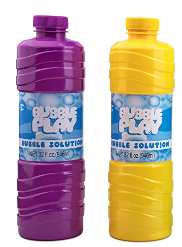Bubble Play 64oz Bubble Refill Pack - Jumbo Supply Includes [2] 32oz Bottles of High Concentrate, Non Toxic Solution for Use w/ Kids Bubble Machine, Wands, Blowers & Other Toys - Bottle Color May Vary