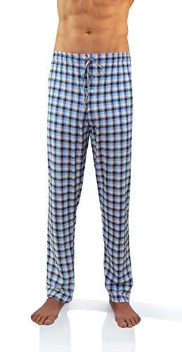 Sesto Senso Pantalones Largos de Pijama Hombre Algodón Pantalón de Dormir Cuadros Estampado Escocés L 11