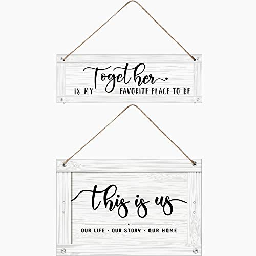 2 Pieces This is Us Our Life Our Story Our Home Rustic Wood Wall Sign Together is My Favorite Place to Be Wood Wall Ornament, Hanging Decoration Home Farmhouse Barnyard Wall Door Decor