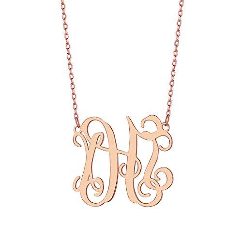 U7 Gargantilha feminina monograma banhado a ouro rosa prata esterlina nome iniciais personalizadas 45,7 cm