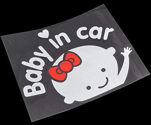 Baby In Car Waving Aufkleber Baby On Board Schild Für Auto Kinder Im Auto Aufkleber Sicherheitsschild Niedlicher Auto Aufkleber Aus Vinyl 2 X Mädchenaufkleber Küche Haushalt