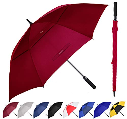 Baraida Golf Umbrella Large 54/62/68 Inch, Extra Large Oversize Double Canopy Vented Windproof Waterproof Umbrella, Automatic Open Golf Umbrella for Men and Women and Family(68 inch,Burgundy)