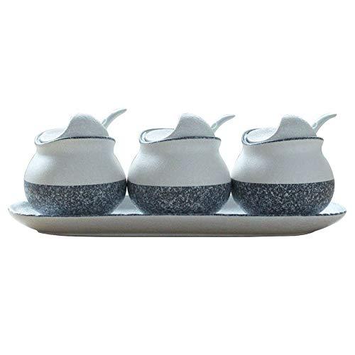 SMEJS Dreiteilige Gewürzbox aus Keramikgewürzen für die Küche, Keramikgewürzflasche mit Salzstreuer