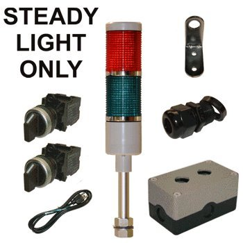 LED Tower Light Station Kit, LED Andon Light Kit KT-5212-100, LED Stacklight Kit, 120V, Red/Green, Off/Steady
