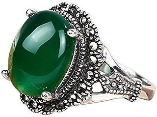 S925 فضة خاتم الأزياء الكبير الأخضر العقيق الفضة خاتم للنساء 7 أوس