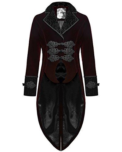 Punk Rave, giacca frac da uomo in velluto rosso, stile gotico, steampunk Rosso Red