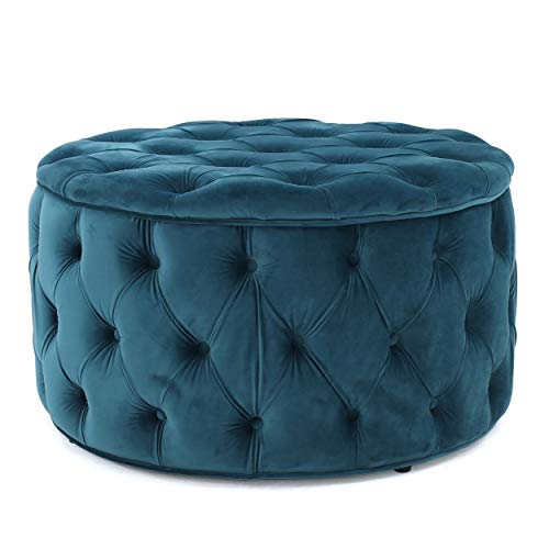 Christopher Knight Home Zelfa Velvet Ottoman, Dark Teal