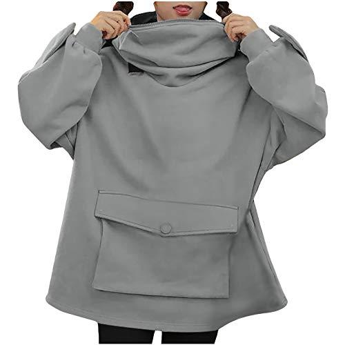 Sudadera con capucha para mujer, diseño de rana, con cremallera y bolsillo tridimensional, de manga larga, divertida, con capucha
