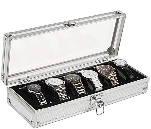 Reloj Organizador para hasta 6 Relojes y joyas Elegante Pulsera Pulsera Colección Caja de reloj para relojes y joyas (Color: Plata, Tamaño: 33 * 12.3 * 6.3cm) ( Color : Silver , Size : 33*12.3*6.3cm )