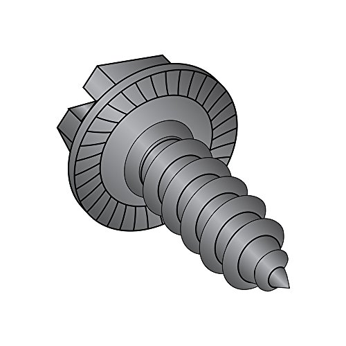 Steel Sheet Metal Screw, Black Oxide Finish, Serrated Hex Washer Head, Slotted Drive, Type AB, #10-16 Thread Size, 3/8
