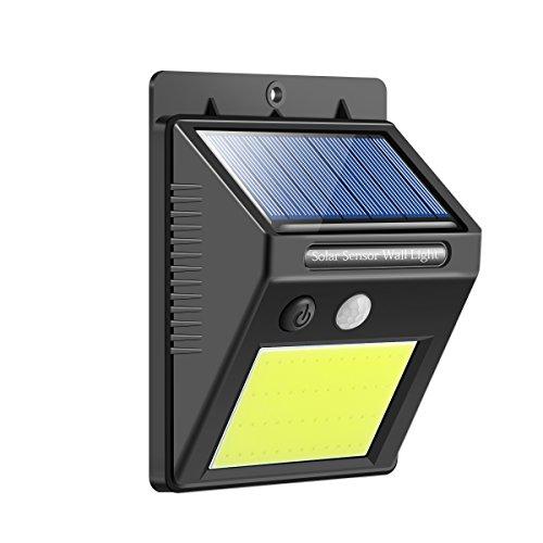 Sunsbell Solar Power Gartenleuchte, 48 LED Wasserdichte Außenwandleuchten 3 Intelligente Modi Solar Bewegungsmelder Leuchten für Gartengarage Gehweg Hof