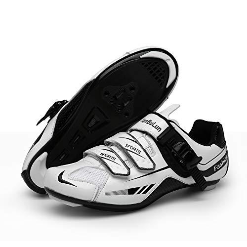 CHANGAN Upgrade Pro Zapatillas de Ciclismo de Carretera para spin, Ciclismo de Carretera, Tacos Zapatillas de Ciclismo MTB (Contiene Pares triples Calcetines de Ciclismo de Invierno Unisex White-36