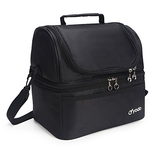 Yodo Deluxe Large Lunch Bag Double Layer Cooler Tote Bag for Adult Women and Men - Idea for Beach, Picnics, Road Trip, Meal Prep, Everyday Lunch to Work or School, Black