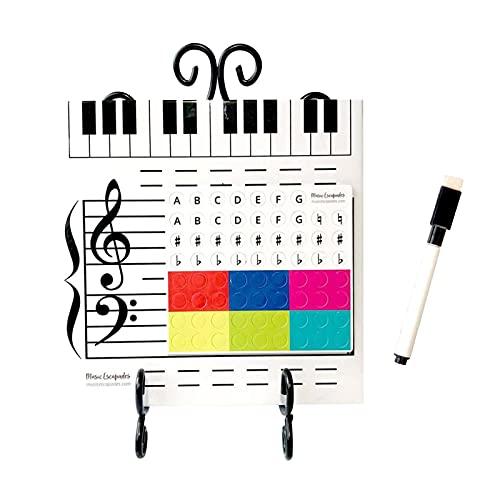 TLM Toys Pizarra blanca portátil para niños, pegatinas para notas musicales, pizarra magnética, fácil de limpiar, con nivel magnético, para amantes de la música y niños, 25 x 25 cm