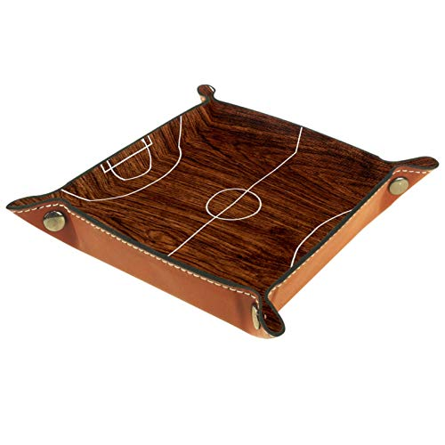 AITAI Bandeja de valet de piel vegana organizador de mesita de noche para escritorio, plato de almacenamiento Catchall de madera marrón oscuro
