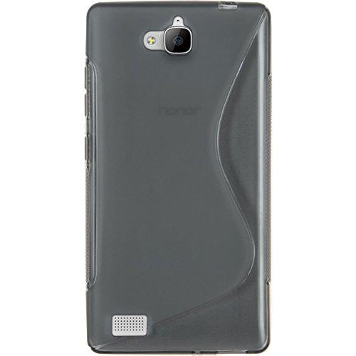 PhoneNatic Case kompatibel mit Huawei Honor 3C - grau Silikon Hülle S-Style + 2 Schutzfolien - 3