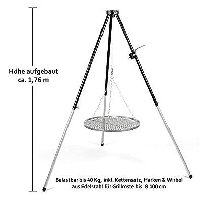 Hero Schwenker Dreibein -Grillgestell mit Kurbel für Schwenkgrill mit Rost 60 cm verchromt & Wurstzange