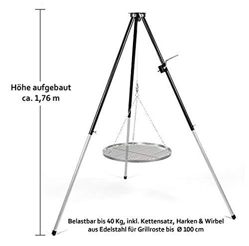 HeRo24 Dreibein Schwenkgrill mit Kurbel & Edelstahl Grillrost 80 cm