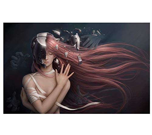 REDWPQ Wall Art Picture Poster Decoración del hogar Lucy Girl Red Hair Anime Canvas Poster Print 50 X 75Cm sin Marco