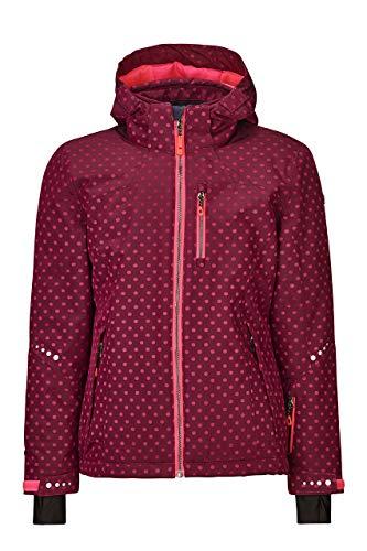 Killtec meisjes Valjessa jr ski-jack waterdicht/kinderjas met capuchon en sneeuwvanger, waterkolom 10000 mm, donker framboos, 164